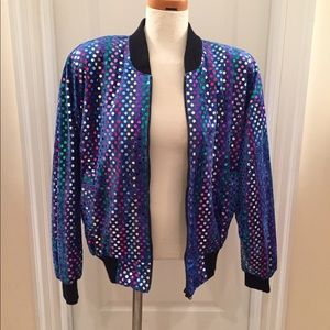 Vintage Sequin Bomber Jacket, Excellent Condition
